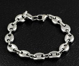 braceletes de ouro branco 24k Desconto 8.66 '' 10mm de largura Brilhantes grãos de café Link Pulseira Cadeia de aço inoxidável de Prata para Homens