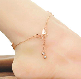 roses butterflies 2019 - For Girlfriend gifts Brand New Stainless Steel 18K Rose Gold Plated Butterfly Anklet or Bracelet discount roses butterfl