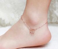 Wholesale Rose Gold Anklets - Summer Jewelry Fashion Women Girls Stainless Steel Rose Gold Plated Bell Charm Anklet Bracelet