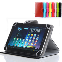 Wholesale 9.7 inch tablet pc online - Leather Case for Universal Tablet PC Flip Cover Stand with Movable Plastic Hook for inch iPad Mini Samsung Tab