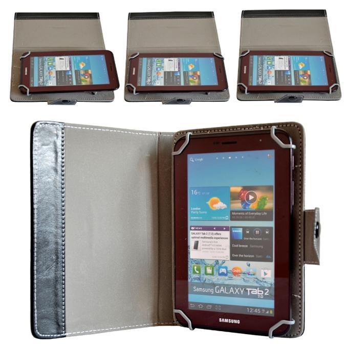 Etui en cuir pour support de tablette à rabat universel pour PC avec crochet en plastique amovible pour 7 8 9 10 pouces iPad 2 3