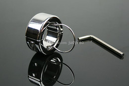 Wholesale Metal Male Chasity Devices - Adult Sex Scrotum Bondage Ball Stretcher Metal Chasity Device Chastity Ring cock ring Penis Pendent For Him JDA086