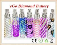 Wholesale Diamond For Ego T - Luxury eGo Crystal Diamond Battery e-Cigarette Portable Battery 1100mAh 900mAh 650mAh eGo T Battery for Electronic Cigarette EGO CE4 CE5
