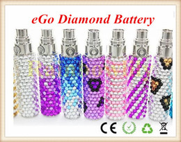Wholesale Ego T Crystal Battery - Luxury eGo Crystal Diamond Battery e-Cigarette Portable Battery 1100mAh 900mAh 650mAh eGo T Battery for Electronic Cigarette EGO CE4 CE5