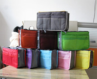 Wholesale Large Purse Organiser - 50pcs lot Women Travel Insert Handbag Cosmetic bags Organiser Purse Large liner Organizer Tidy Bag Pouch Storage Two Zipper Bag
