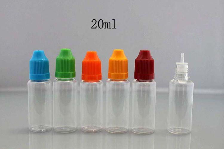 Kindersicherungskappen Leere Flasche PET-Nadelflasche 5ml 10ml 15ml 20ml 30ml transparente Kunststoff-Tropfflaschen LDPE E Cig E-Flüssigkeitsbehälter