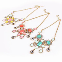 Wholesale Bubble Resin Necklace - Modern Female Rhinestone Resin Bubble Bib Statement Chokers Charms Jewelry Lady Necklace Earrings Set For Party Presents TL9279