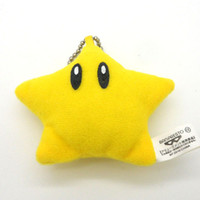 "Wholesale Mario Keychain Toys - Free Shipping High Quality Soft Plush Doll Super Mario Bros 2"" STAR Figure Keychain Plush Toy"