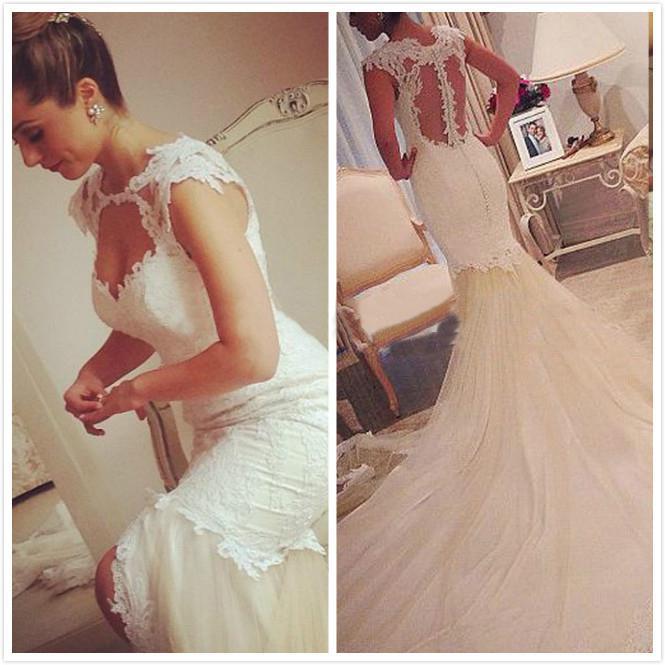 جديد 2020 حورية البحر الرباط فساتين الزفاف مع توج جوهرة طويل مخصص يزين انظر من خلال مثير أثواب الزفاف الطابق طول W1086