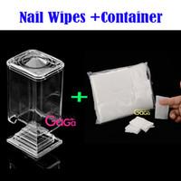 Wholesale Soft Polish Pads - BeautyGaGa Nail Art Treatment 1pc Plastic Container + 900pcs 100% Natural Cotton Fiber Pad Lint Free Soft Wipes Nail Polish Remover