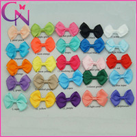 "Wholesale Grosgrain Hair Bows Mini - 25 Pcs lot 2.5"" Mini Hair Bows Grosgrain Ribbon Hair Bow Hair Accessories Solid Hairbow Hair Clips 25 Colors"