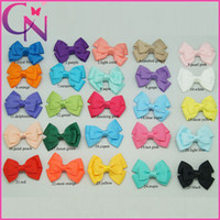 "Wholesale Small Grosgrain Hair Bows - 50Pcs lot 2.5"" Mini Grosgrain Ribbon Hair Bows Solid Small Ribbon Stacked Bow With Hair Clips Lovely Children Hair Accessories"