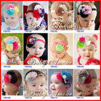 Wholesale shabby chic flower bow wholesale - 2016 New 28 Design Baby Girl Headband Newborn Headbands Shabby Chic Flower Hairband Christening Headband Baptism Hair Bows 20PCS LOT Melee