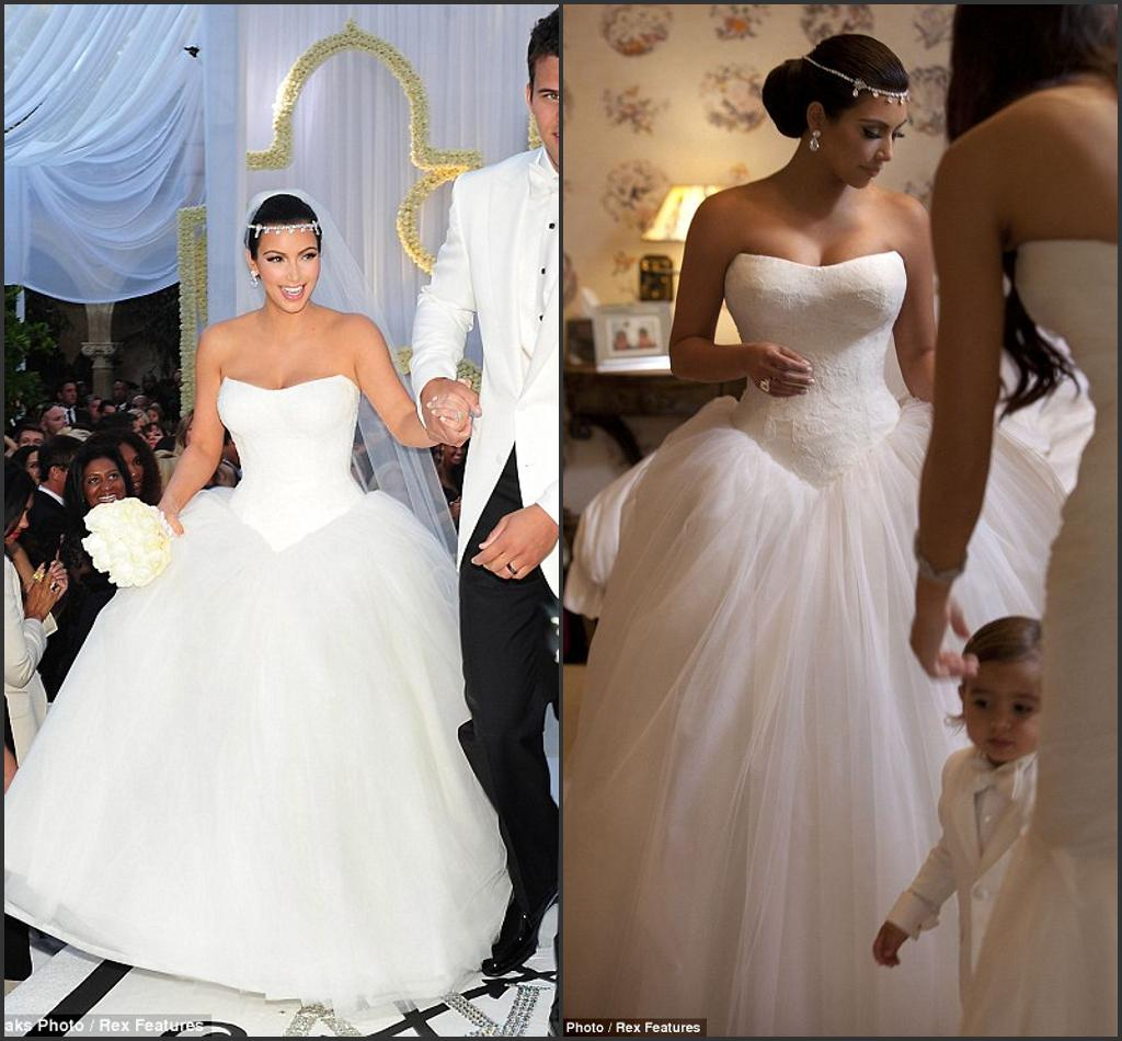 Elegant Kim Kardashian's Fairytale Wedding Dress Tulle Sweetheart Puffy Ball Gown Long Train Vintage White Bridal Dre157 For: Kim Kardashian Wedding Dress Replica At Reisefeber.org