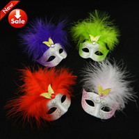 Wholesale Masquerade Masks Wedding Favors - Cute Wedding Favors Lovely Mini Feather Mask Halloween Decoration Venetian Masquerade Party Kid Gift Wedding Favors free shipping mix color