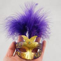ingrosso bauta maschere-Bella mini piuma maschera veneziana festa in maschera regalo di halloween decorazione bomboniera novità spedizione gratuita colore della miscela
