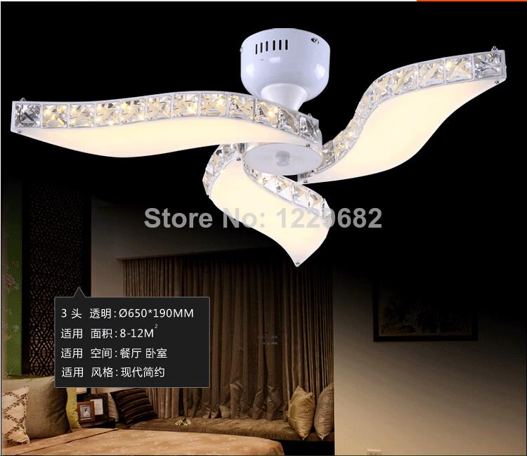 2014 newest concept modern fan design led crystal ceiling light for foyer art creative lamps for bed room home decoration