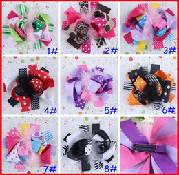 Wholesale Fun Bow - free shipping INS 20pcs girls 5-6'' boutique funky fun dot hair bows popular hair bows clips zebra character flower clips