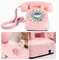 Wholesale Vintage Rotary Dial Telephones - Free shipping 1pcs Old 1960's Pink black fashionable Vintage Rotary Dial Retro Telephone