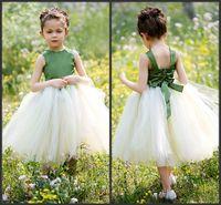 Wholesale Taffeta Jewel Tea - 2014 A-line princess lovely beautiful girl Ball Gown Jewel Tea-length Satin And Tulle Tutu Dress Flower Girl Dresses bow high quality