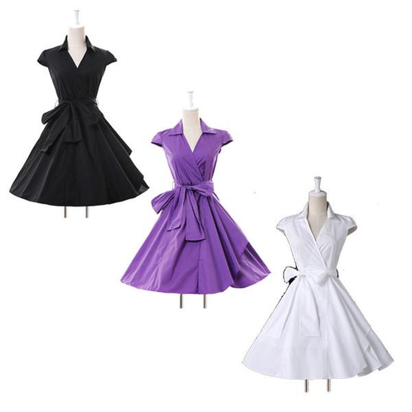 bee495e90 Estilo Retro Vintage 1950S Partido Casual vestido con cuello en V Mangas  Pin encima del oscilación