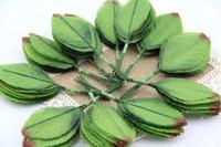 artesanato folha verde venda por atacado-200 pcs Verde Artificial Folha De Folhas Buquê Garland Grinalda Cap Decoração Artesanato