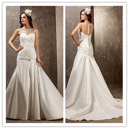 Wholesale Cheap Sheer Nylons - 2014 simple ivoryTrumpet Mermaid Sweetheart Sweep Brush Nylon Taffeta And Tulle soft satin ruffle sequins Wedding Dresses cheap hot sale