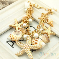 Wholesale Ocean Shell Pearls - Ocean Style Multi Starfish Sea Star Conch Shell Pearl Chain Beach Bracelet Bangle Novelty Hot Selling
