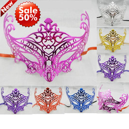 Wholesale Masquerade Queen Costume - Halloween Mask gold plating fox mask venetian masquerade party mask carnival mardi gras costume half face sexy queen mask mix color