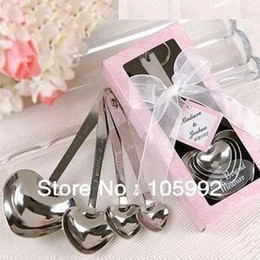 Wholesale Wholesale Wedding Souvenirs Usa - Hot sell free shipping to USA Heart Measuring Spoons in Gift Pink box Wedding Souvenirs and gifts