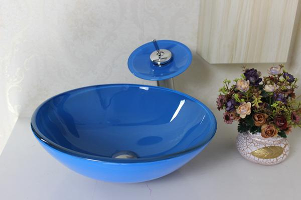 Pastoral style vanity Bathroom Glass Basin Basin glass bowl sinks clear tempered glass basins for bathrooms Modern Bathroom Basin N-173