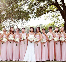 Wholesale Sweetheart Neckline Cheap Bridesmaid Dresses - Sexy A Line Bridesmaid Dresses Cheap Sweetheart Neckline Sleeveless Floor Length Pleated Decorate Chiffon Evening Prom Gowns WH37