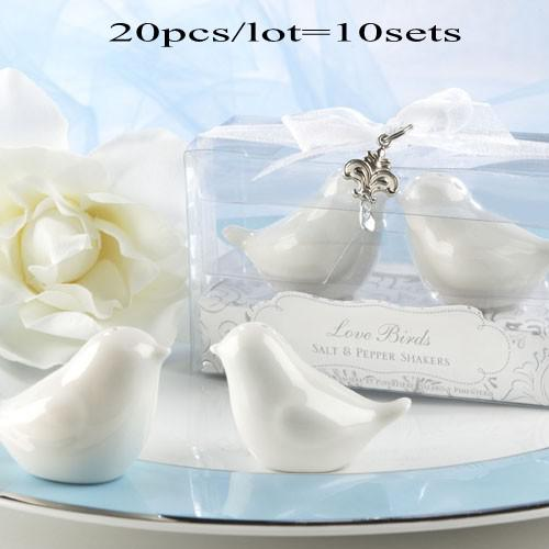 top popular True Love Conquers All Ceramic Birds Salt and Pepper Shakers Wedding favors Original Packing and Silver cham 20pcs lot(10sets) Free shipping 2019