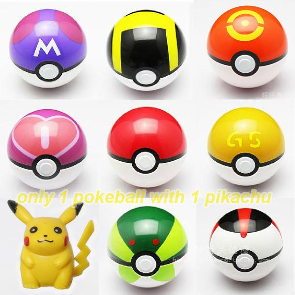1x Cosplay New Pokeball Master Great GS Ball Playset action figures Pop-up Plastic Pokel Ball Game Toy for kid + Free Monster Pikachu