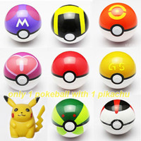 grandes juegos gratis al por mayor-1x Cosplay Nuevo Pokeball Master Grande GS Ball Playset acción figuras Pop-up plástico Pokel Ball Juego de juguete para kid + Free Monster Pikachu