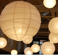 "New 8"" (20cm)White Chinese Paper Lanterns With LED Light..."