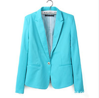 Wholesale Hot Ladies Breasts - Hot Women's Long Sleeves Blazer Suit with Single Button Celebrity Candy colors Black Mint Pink Blue Orange Ladies Jacket XS S M L XL 0731