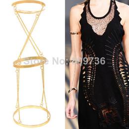Wholesale Golden Bracelet Cuff - Golden Alloy Arm Cuff Bracelet Chain Bangle Waistband Three Circle Rings Band Women Jewelry Free Ship