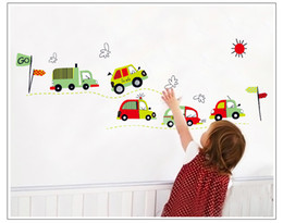 Wholesale Baby Decals For Car - Free Shipping Cute Toy Car Cartoon Wall Sticker Decals For Baby Room Decor