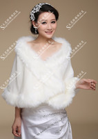 Wholesale Plus Size Fur Shawl - In Stock Free Shipping Bride fur shawl cloak wool wrap wedding plus size thick married cape