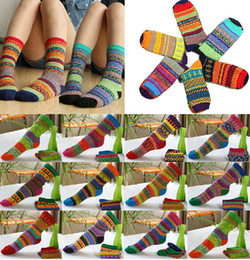 Wholesale Ladies Colorful Socks - Free Shipping Indian Wind Socks Colorful Retro Women Ankle Socks Ladies Casual Cotton Socks Cute Striped High Socks [CW18002*6]