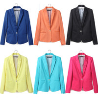 Wholesale Wholesale Plus Size Blazers - Women's Long Sleeves Blazer Jacket Suit with Single Button Candy colors Black Mint Pink Blue Orange Ladies XS S M L XL 0731