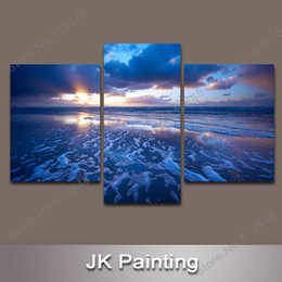 Wholesale Wholesale Wall Art Pictures - 3 Piece Canvas Art Modern Seascape Decorative Painting Wall Art Decor Canvas Pictures for Living Room -- Digital Painting Wall