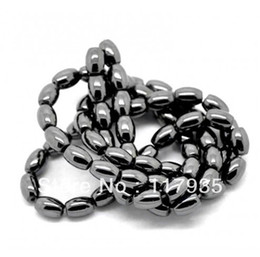 Wholesale Making Rice - Wholesale Natural Magnetic Hematite oval rice Beads 38cm per strand quality stone Loose beads jewelry making factory price