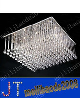 Wholesale Square Crystal Ceiling Lamp - free shipping K9 crystal Lamp Square Silver K9 Crystal Chandelier Restaurant Hotel Living Room Ceiling Lamp Length 80cm*width 80cm MYY2059