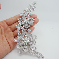 """Wholesale Bridal Bouquet Jewelry Crystals - Wholesale -Bride Pretty 5.7"""" Bouquet Bridal Flower Clear Rhinestone Crystal Brooch Pin Bridesmaid Jewelry"""