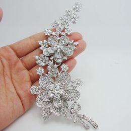 "Wholesale Bouquet Jewelry Rhinestone - Wholesale -Bride Pretty 5.7"" Bouquet Bridal Flower Clear Rhinestone Crystal Brooch Pin Bridesmaid Jewelry"
