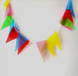 China Free Shipping New Multi Color Triangle Flag Beautiful Christmas Ornaments For Wedding Party Decoration Supplies 200m lot supplier nylon beautiful suppliers