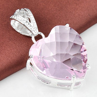 2015 Venda Atirada Lockets Asian East Indian Cross Cross Mulher Lp0059 Atacado Cheap Heart Jewelry Pink Topaz Crystal Pendant Silver