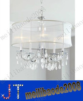 """Wholesale Chandeliers Shades Crystals - free shipping Hampton Collection 5-Light 24"""" Polished Chrome Silver Silk Shimmer Shaded Crystal Chandelier MYY2060"""